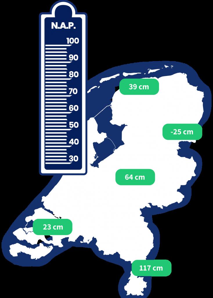 Kaart van Nederland met waterstanden van de rivieren
